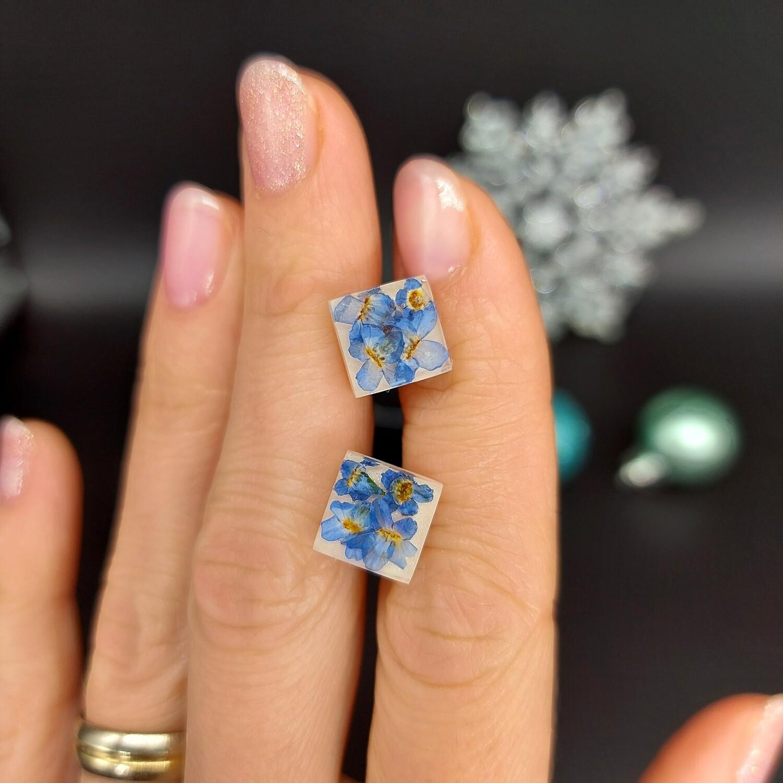 FORGET ME NOT - spominčice v kvadratkih; mini uhančki na metuljčka