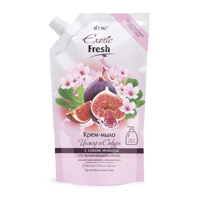 Витэкс | Exotic Fresh Крем-мыло | Инжир и Сакура, дой-пак, 750 мл