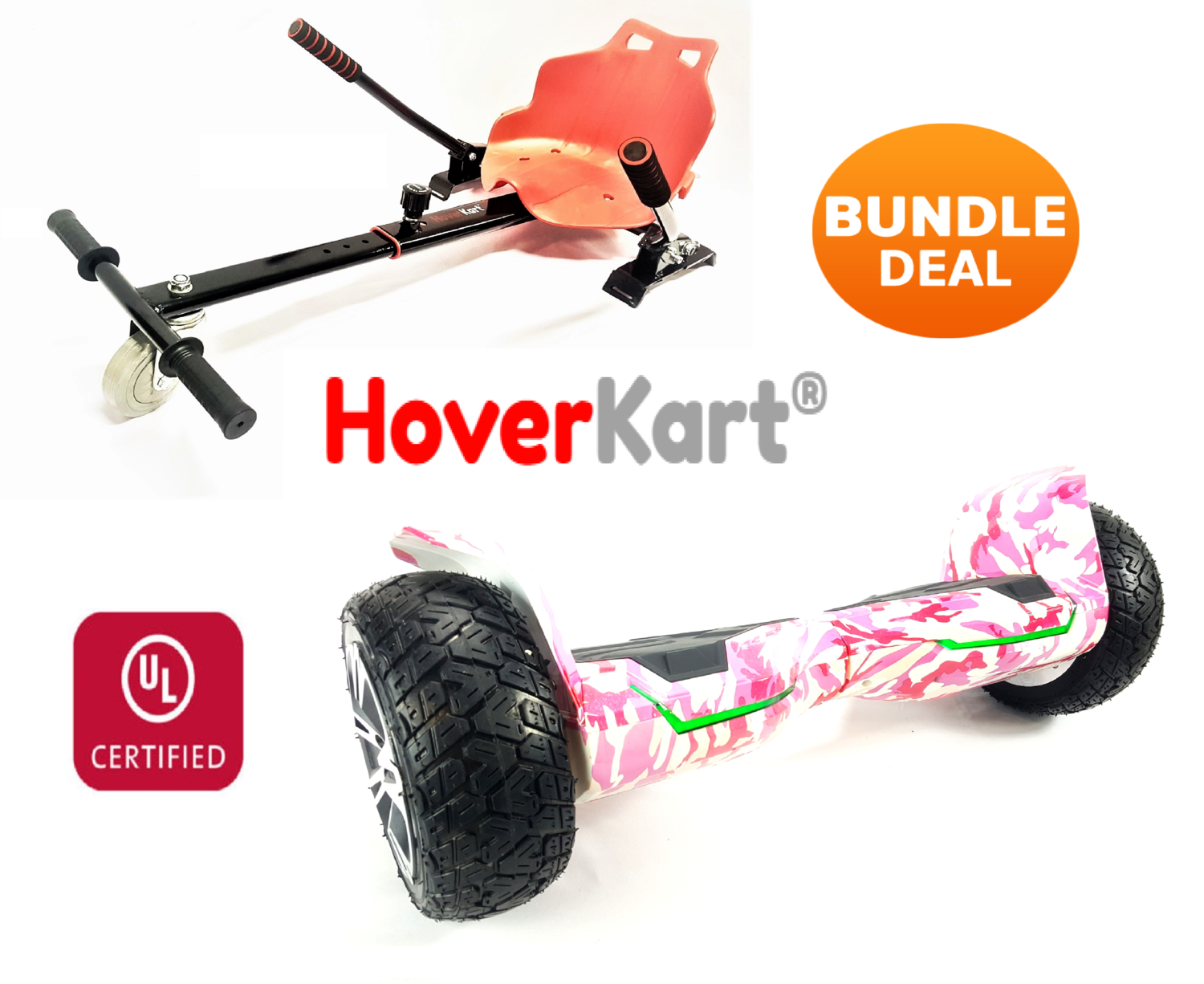 """PINK CAMO G2 Warrior Pro 8.5"""" Hoverboard with Red Seat Hover GoKart HK5 Bundle"""