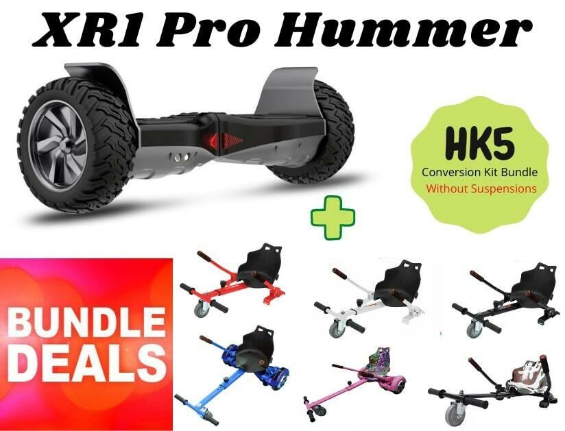 """BLACK XR1 PRO 8.5"""" All Terrain Off Road Hummer Hoverboard + HK5 HoverKart Go Kart Bundle Deal"""