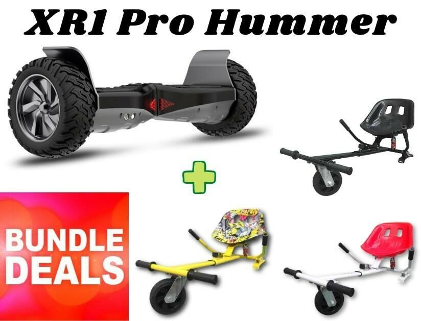 """BLACK XR1 PRO 8.5"""" All Terrain Off Road Hummer Hoverboard + HK8 HoverKart Go Kart Bundle Deal"""