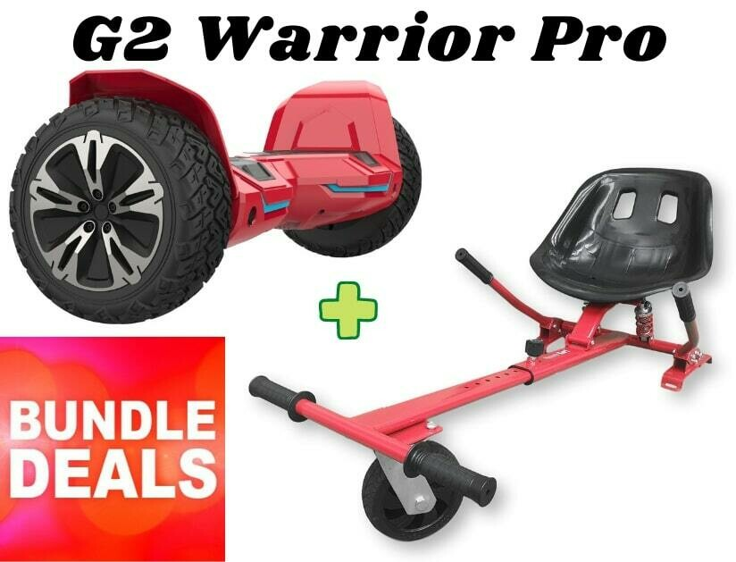 """RED G2 WARRIOR PRO 8.5"""" All Terrain Off Road Hoverboard + Dual Suspension HK8 HoverKart Go Kart Bundle"""