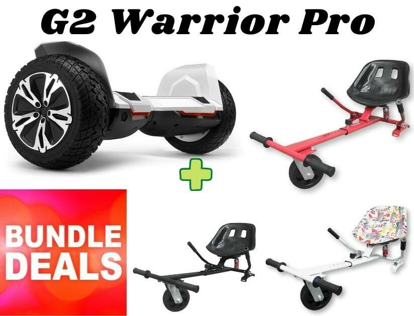 "WHITE G2 WARRIOR PRO 8.5"" with Dual Suspension HK8 HoverKart Bundle Deal"