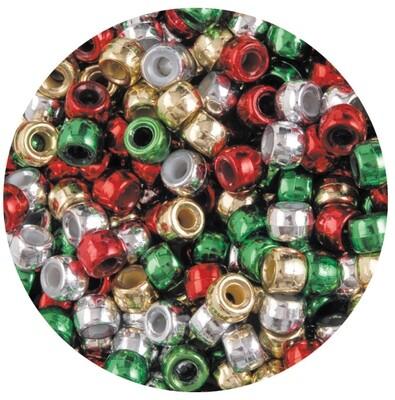 Pony Beads Christmas Pk 1000pc, GR,Rd,Gld & Silv