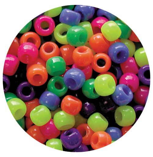 Pony Beads Neon Multi Mix 1600pcs 10mm Diameter