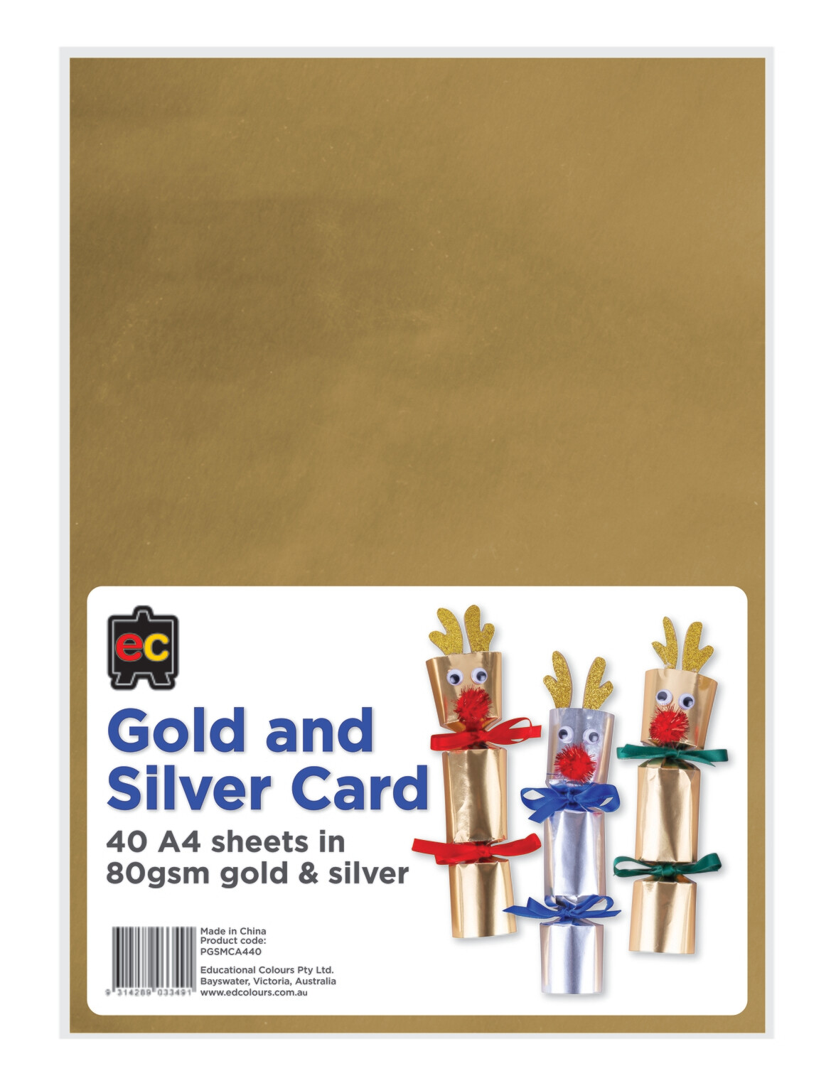 Gold and Silver Metallic Card A4 packet 40