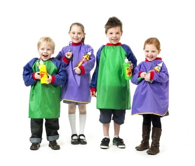 Junior Artist Smocks Green and Blue Ages 5-8