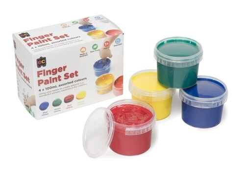 Finger Paint Set of 4 Red, Green, Blue, Yellow