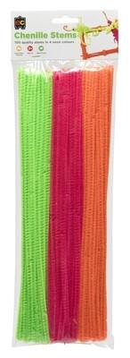 Chenille Stems Neon 300 x 6mm (4 colours 100pcs)