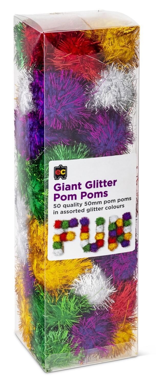 Pom Poms Glitter 50mm Packet 50