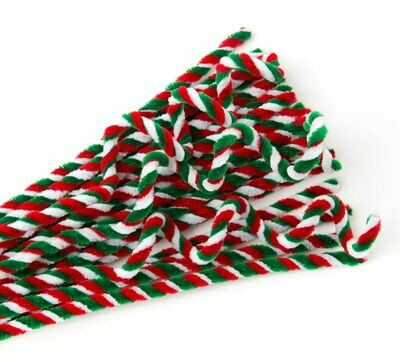 Chenille Stems Candy Pk25 Red/Green/White Strip