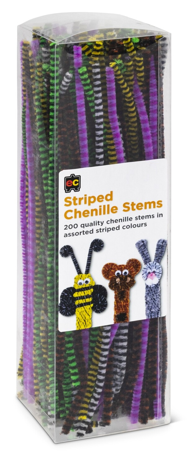 Chenille Stems Striped 30cm Packet 200