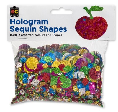 Hologram Sequins Assorted Shapes 150gm