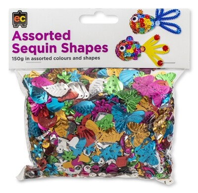 Sequins Assorted Shapes 150gm