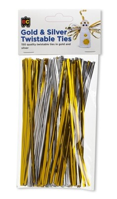 Twistable Gold and Silver 15cm Packet 150
