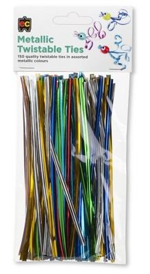 Twistable Ties Metallic 15cm Packet 150