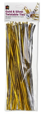 Twistable Gold and Silver 25cm Packet 150