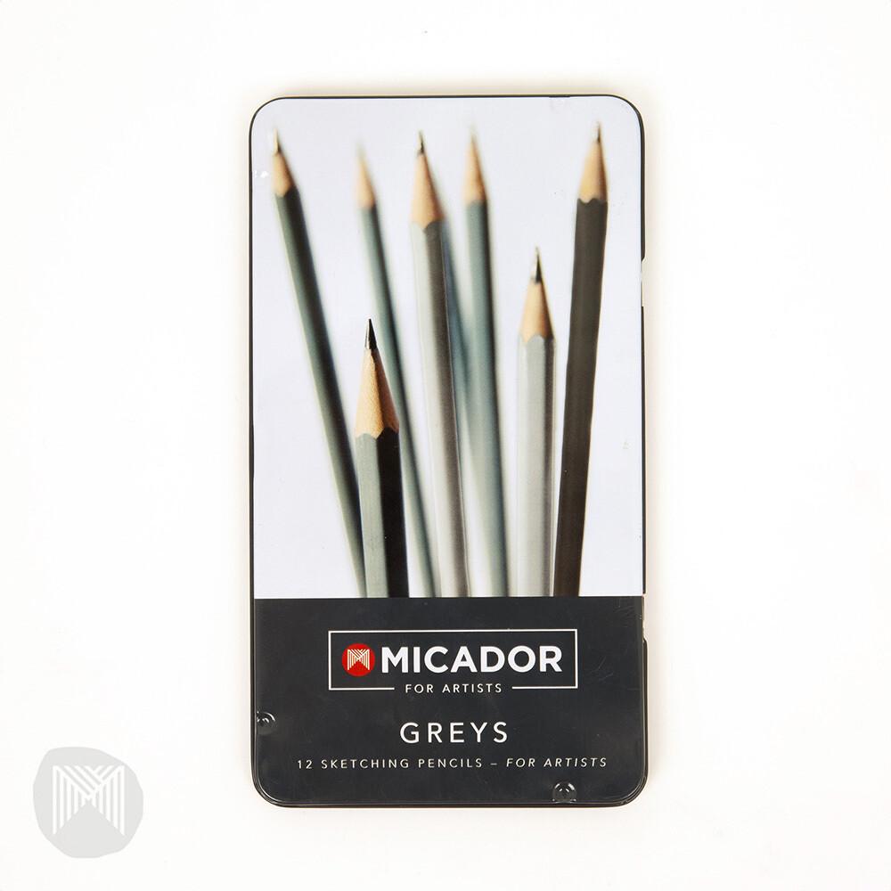 Micador For Artists Greys Sketching Set, Tin 12
