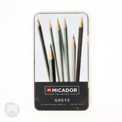 Micador For Artists Greys Sketching Set, Tin 12