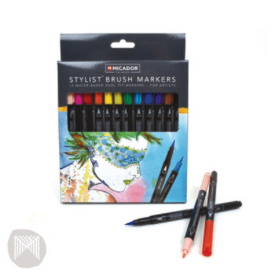 Micador Stylist Brush Markers (12pk)