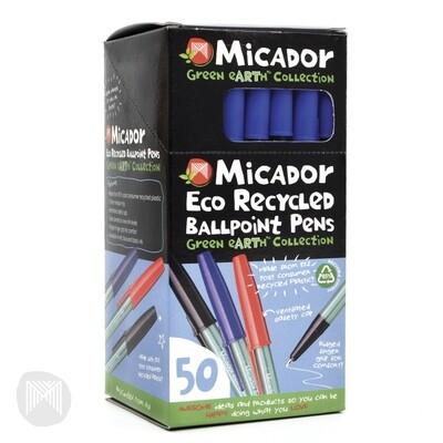 Micador Eco Ballpoint Pens-Blue Box 50