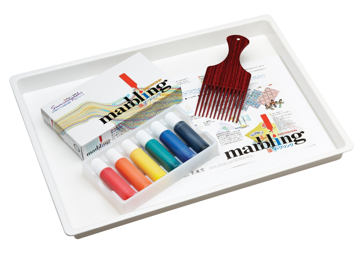 Marbling Ink Tray, Comb & Paper Set