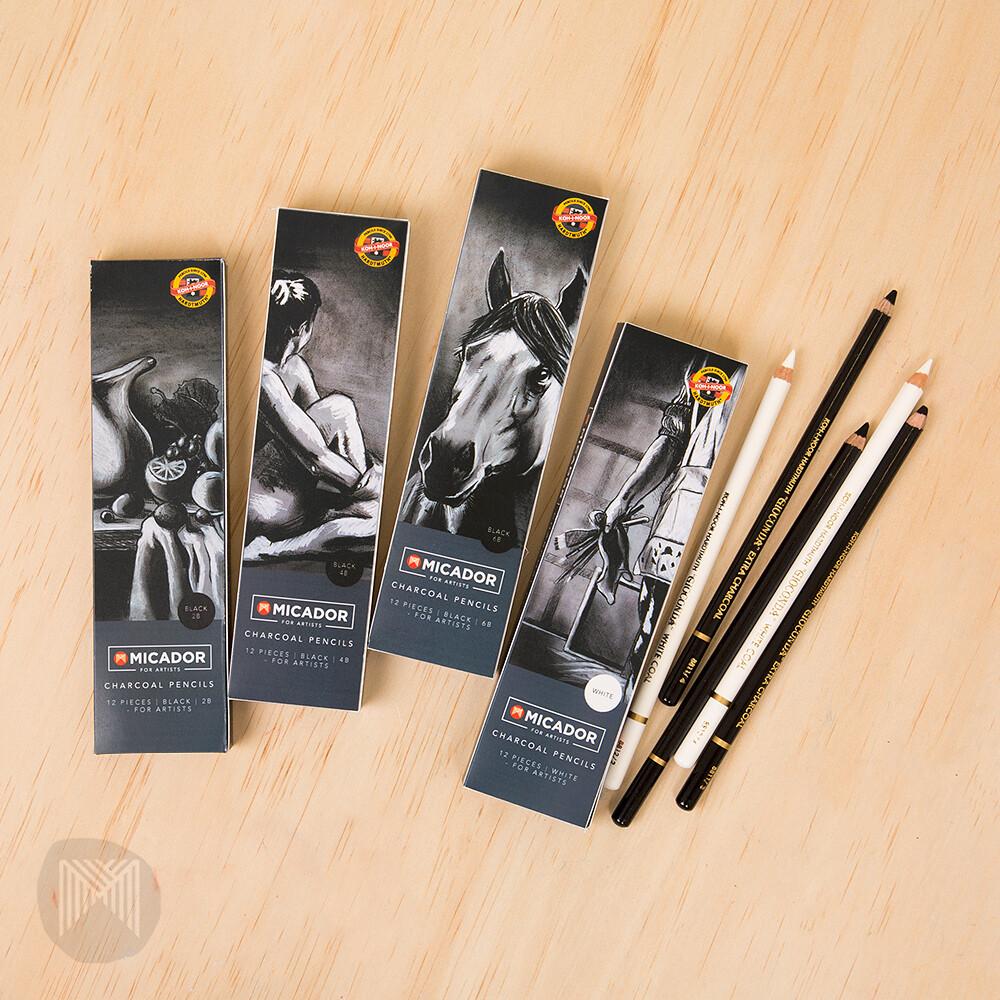 Micador For Artists Charcoal Pencils- Box of 12