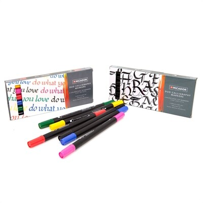 Micador for Artists Duo Calligraphy Markers-Assorted, Pack 6