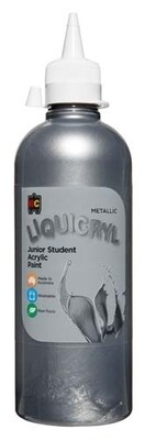 Metallic Liquicryl Junior Student Acrylic 500ml Silver