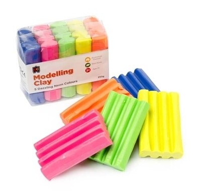 Fun Clay Fluoro 5 Colours 50G (Bl,OR,Yl,Pnk & Gr)
