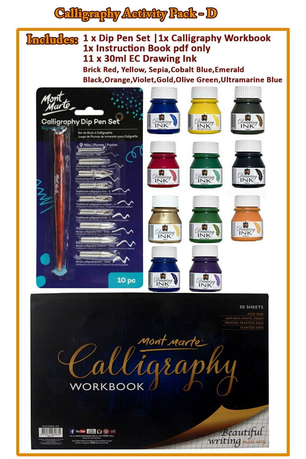 Calligraphy Activity Pack - D( PDF Instruction Book )
