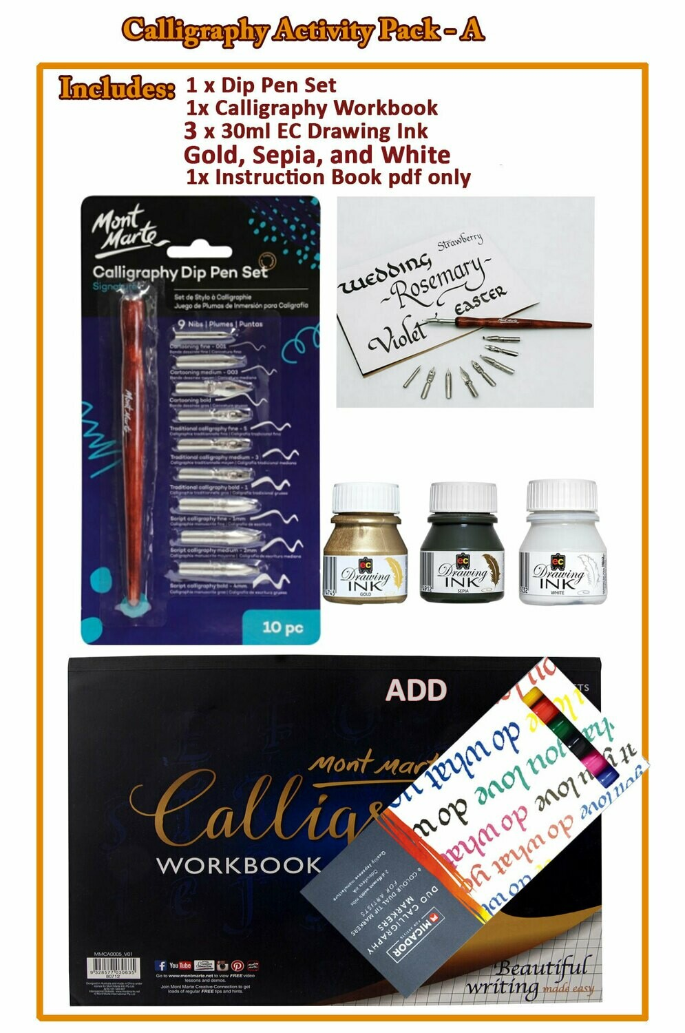 Calligraphy Activity Pack - C( PDF Instruction Book )