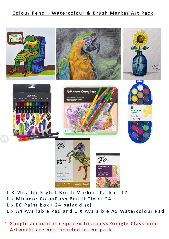 Colour Pencil, Watercolour, & Brush Marker Creative Art Pack