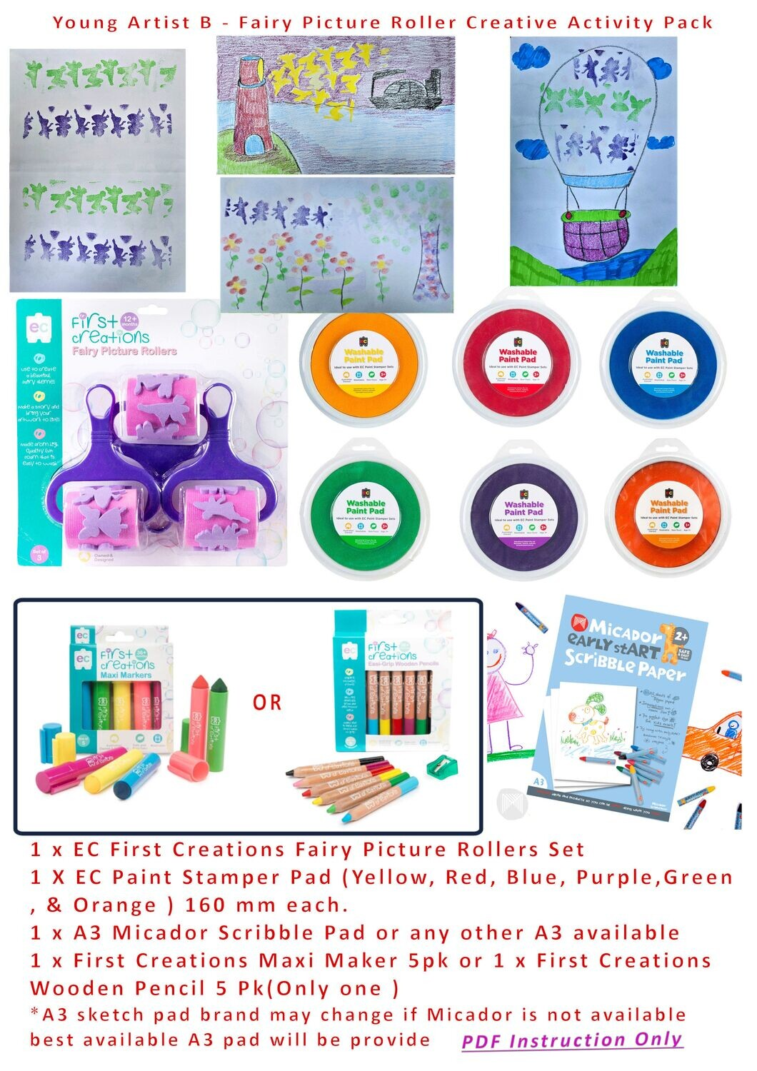 Young Artist B Creative Kids Activity Pack (PDF Instruction)