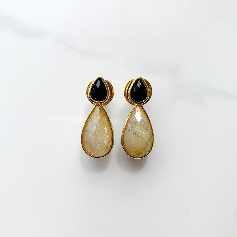 Onyx with Rutilated Quartz Teardrop Earrings