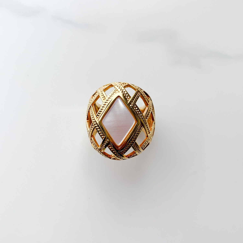 Shell Louvre Diamond Ring