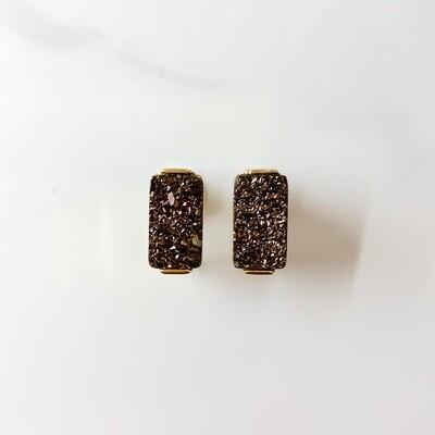 Bronze Bar Stud Earrings