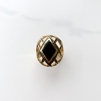 Onyx Louvre Patina Diamond Ring