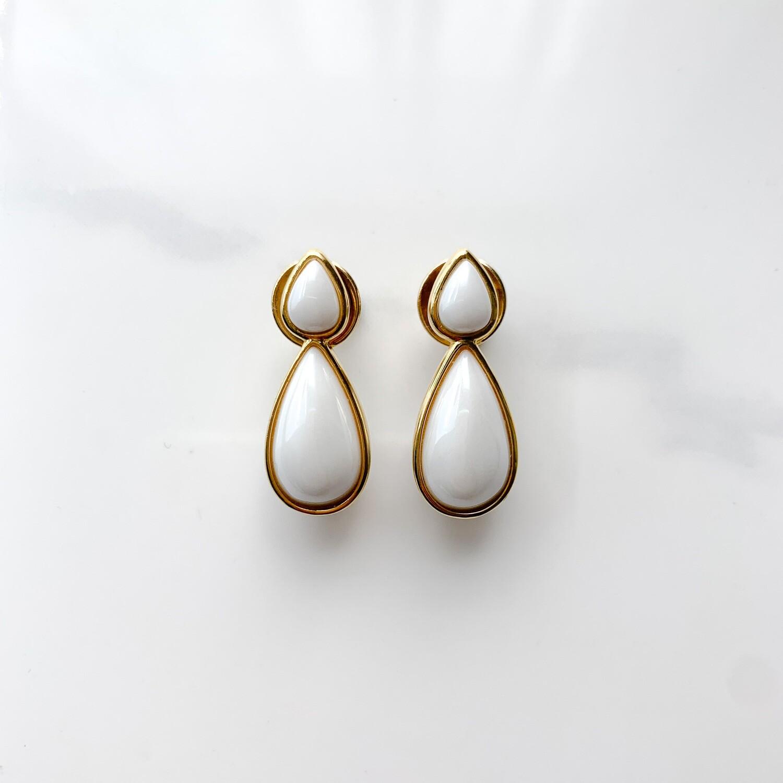 White Agate Teardrop Earrings