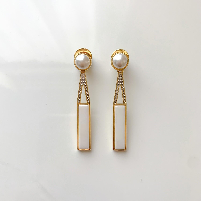 Pearl Bar Drop Earrings