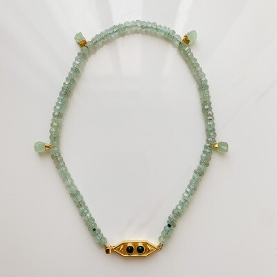 Green Chalcedony with Opal Necklace