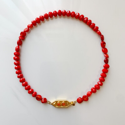 Red Coral with Opal Necklace