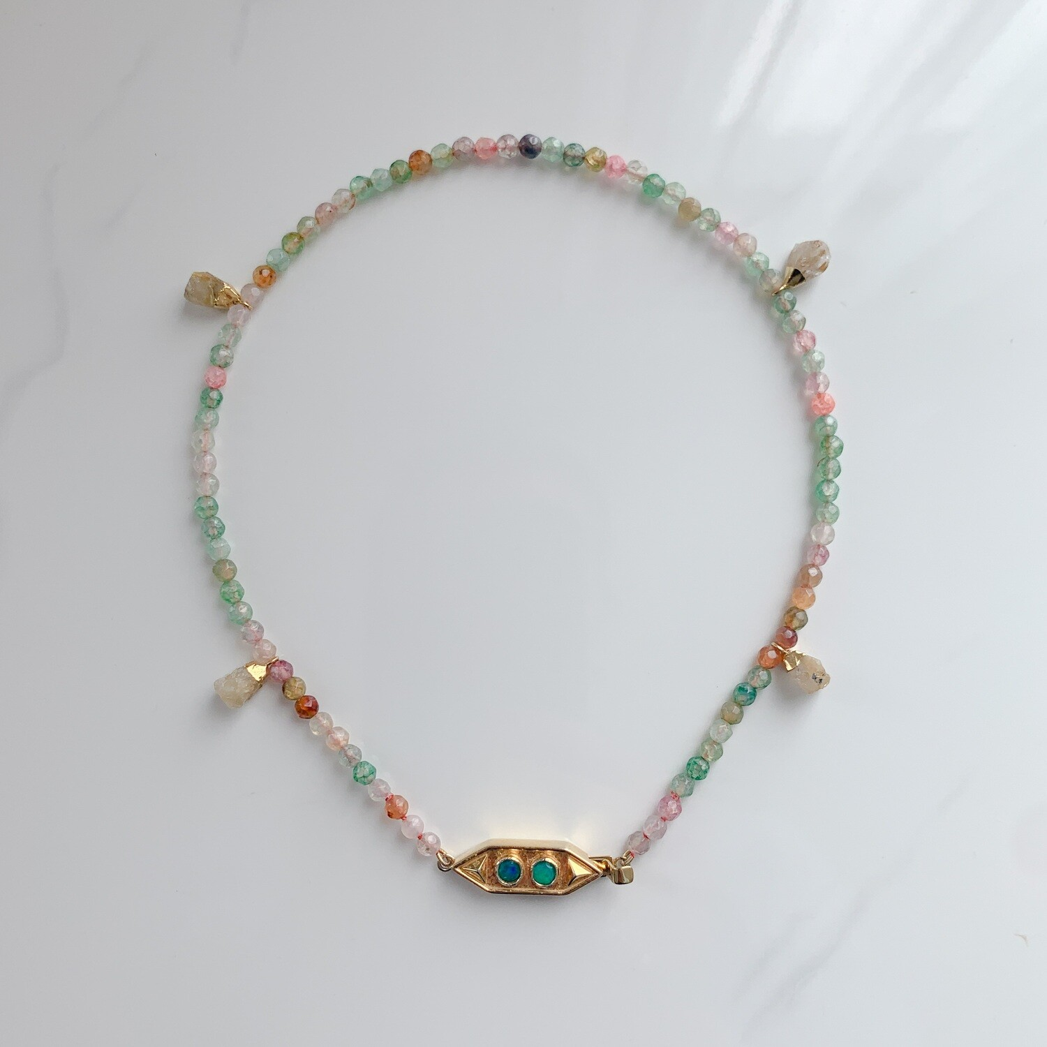 Multicolour Agate with Opal Necklace