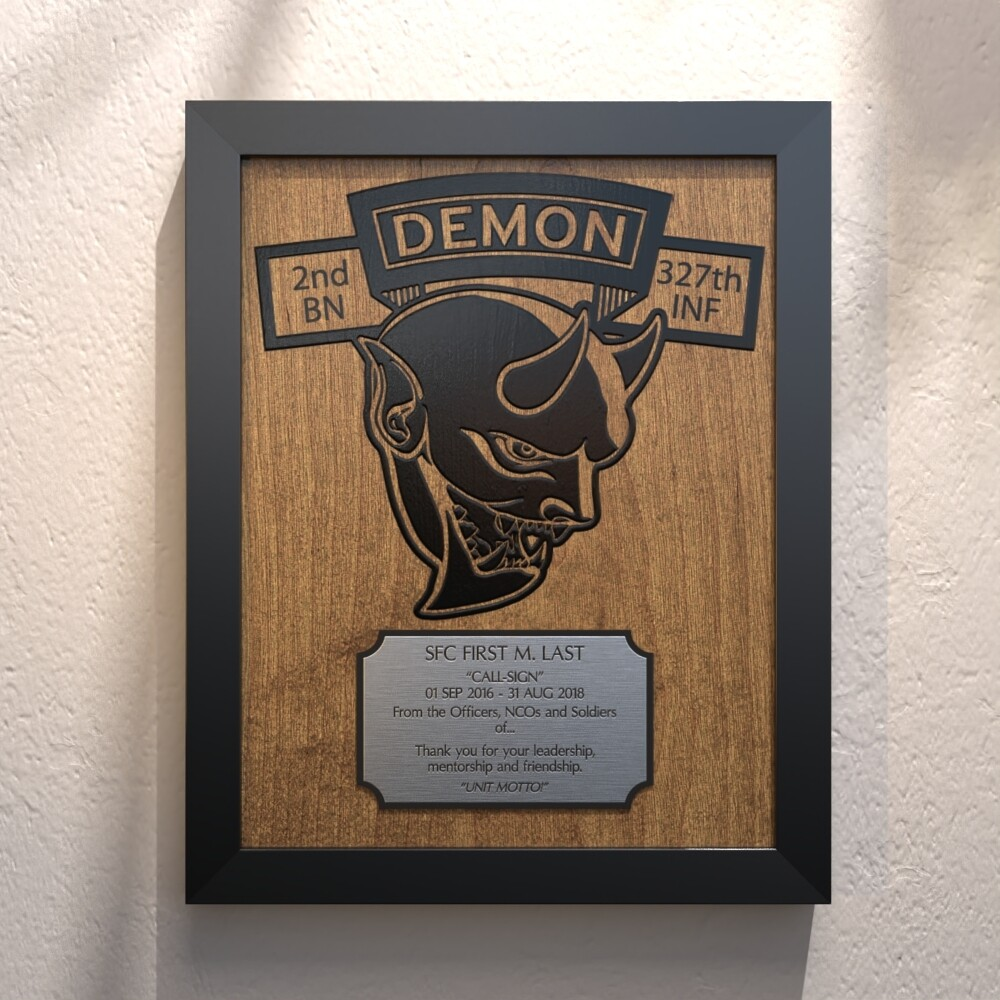"Demon Co 2-327th INF Plaque - 13.5""x10.5"""