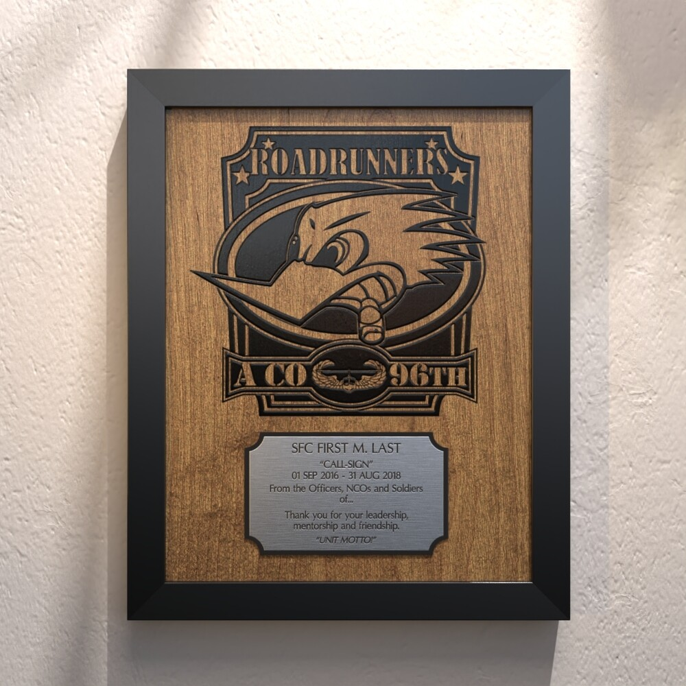 """A CO 96th ASB """"Roadrunners"""" Plaque - 13.5""""x10.5"""""""