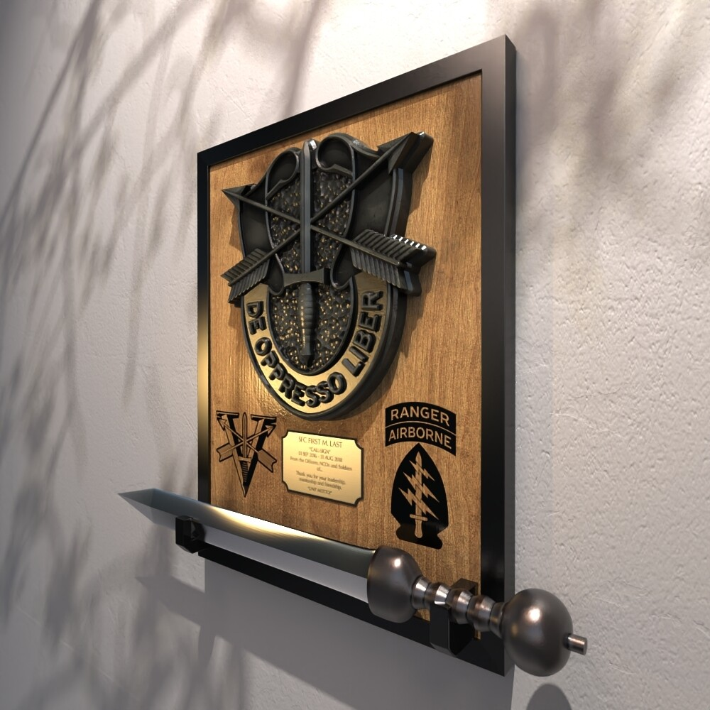 """5th Special Forces Group (Abn) - Gladius Mounting Plaque 22.25""""x17.5"""""""