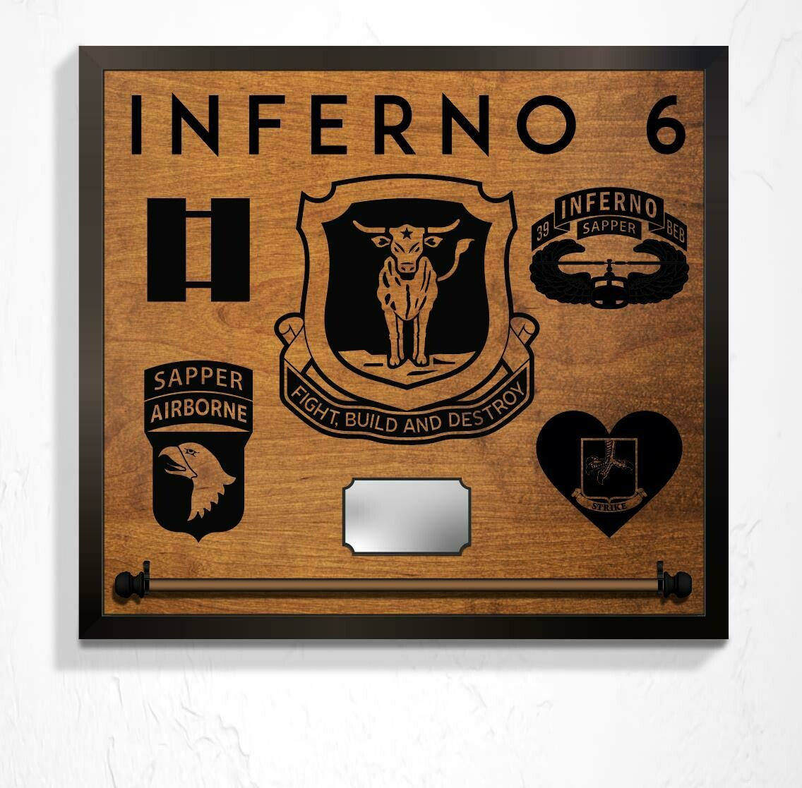 "B CO 39 BEB, Guidon Mount and Custom Callsign - Plaque 25"" x 23"""