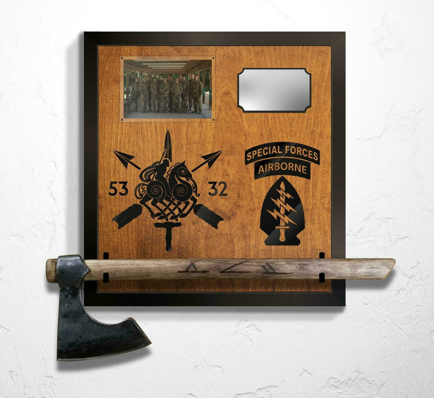 "5th Group - Hatchet/Photo Mounting Plaque 17.75""x18.625"""