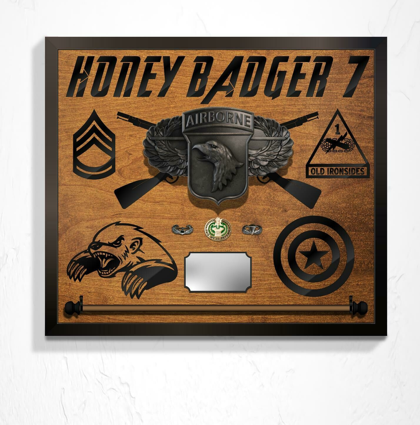"Honey Badger Guidon Hanging Plaque - 26"" x 22"""