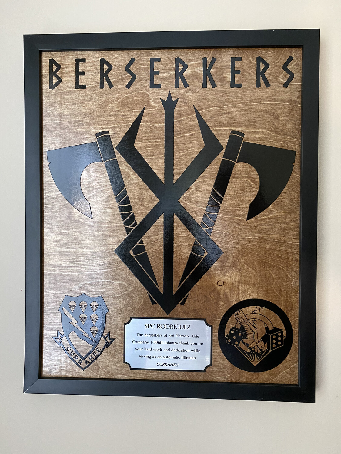"""Berserkers - 3 Plt, A Co. 1-506th Plaque, 20.5""""x16.5"""""""